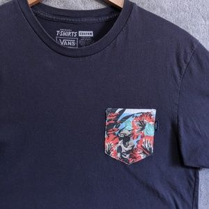 Vans blue T-shirt w/ floral Yoda pocket
